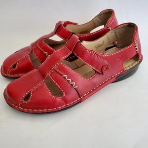 Josef Seibel 41 mary jane red leather sandals 10